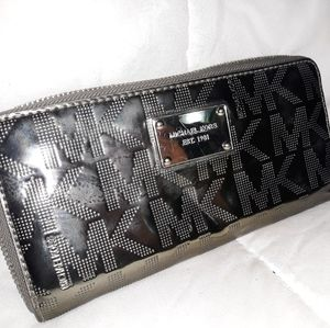 Michael Kors gun metal shiny wallet